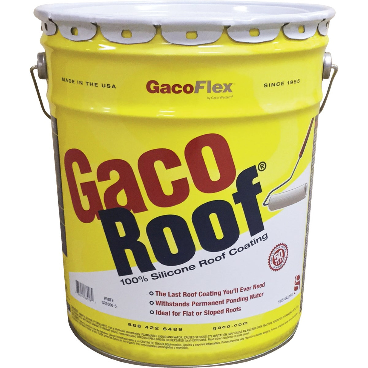 GacoFlex GacoRoof VOC-Compliant Silicone Roof Coating, White, 5 Gal. Image 1