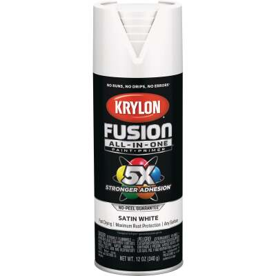 Krylon Fusion All-In-One Satin Spray Paint & Primer, White