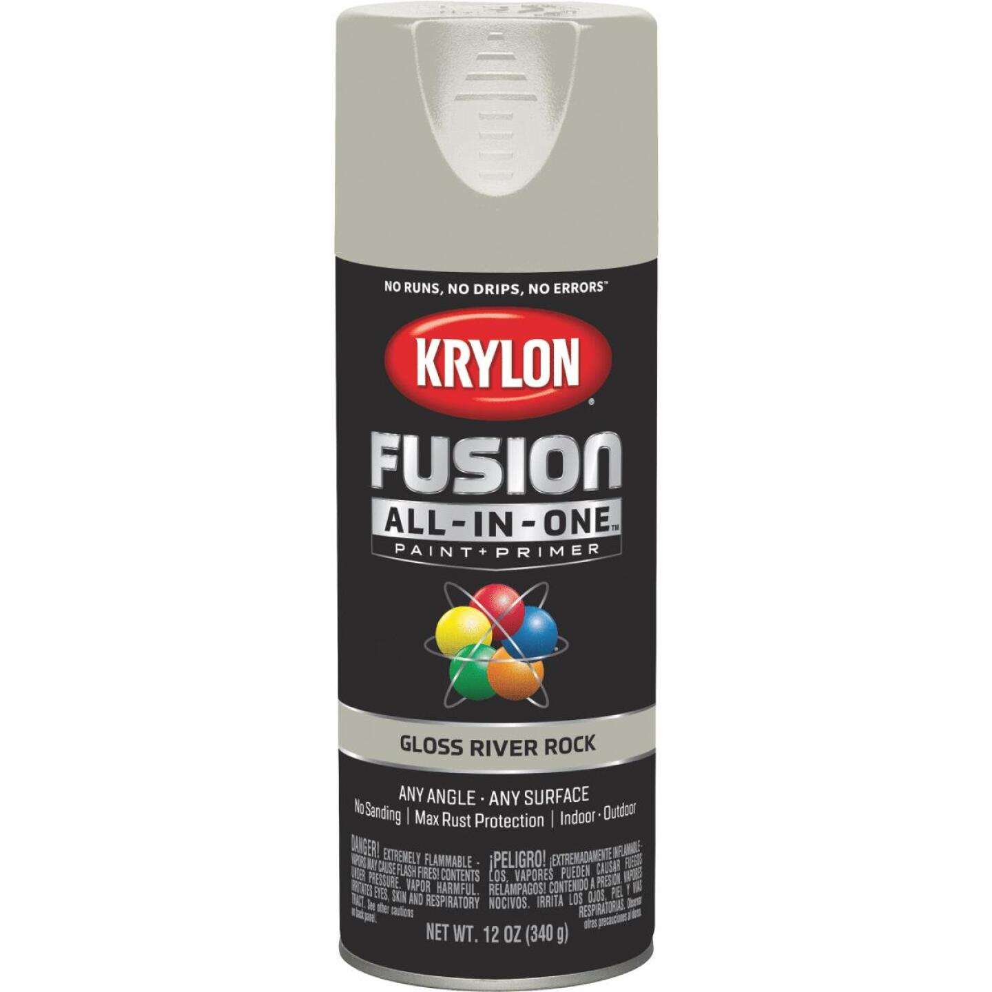 Krylon Fusion All-In-One Gloss Spray Paint & Primer, River Rock Image 1