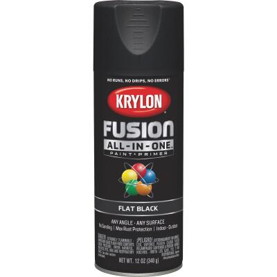 Krylon Fusion All-In-One Flat Spray Paint & Primer, Black