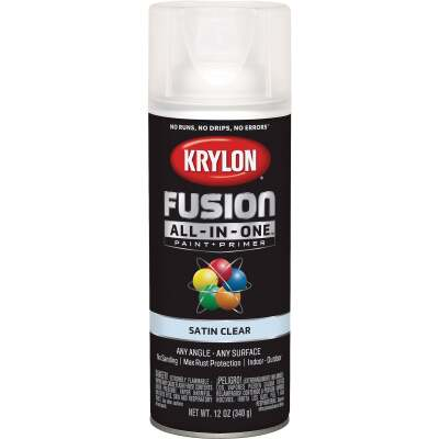 Krylon Fusion All-In-One Satin Spray Paint & Primer, Clear