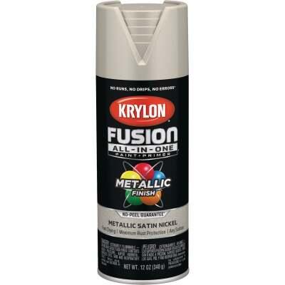 Krylon Fusion All-In-One Metallic Spray Paint & Primer, Satin Nickel