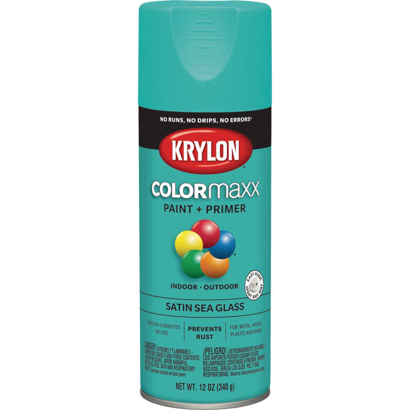 Krylon Colormaxx Satin Spray Paint & Primer, Sea Glass Image 1
