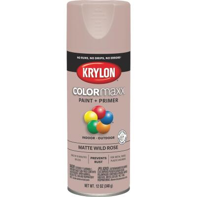 Krylon Colormaxx Matte Spray Paint & Primer, Wild Rose