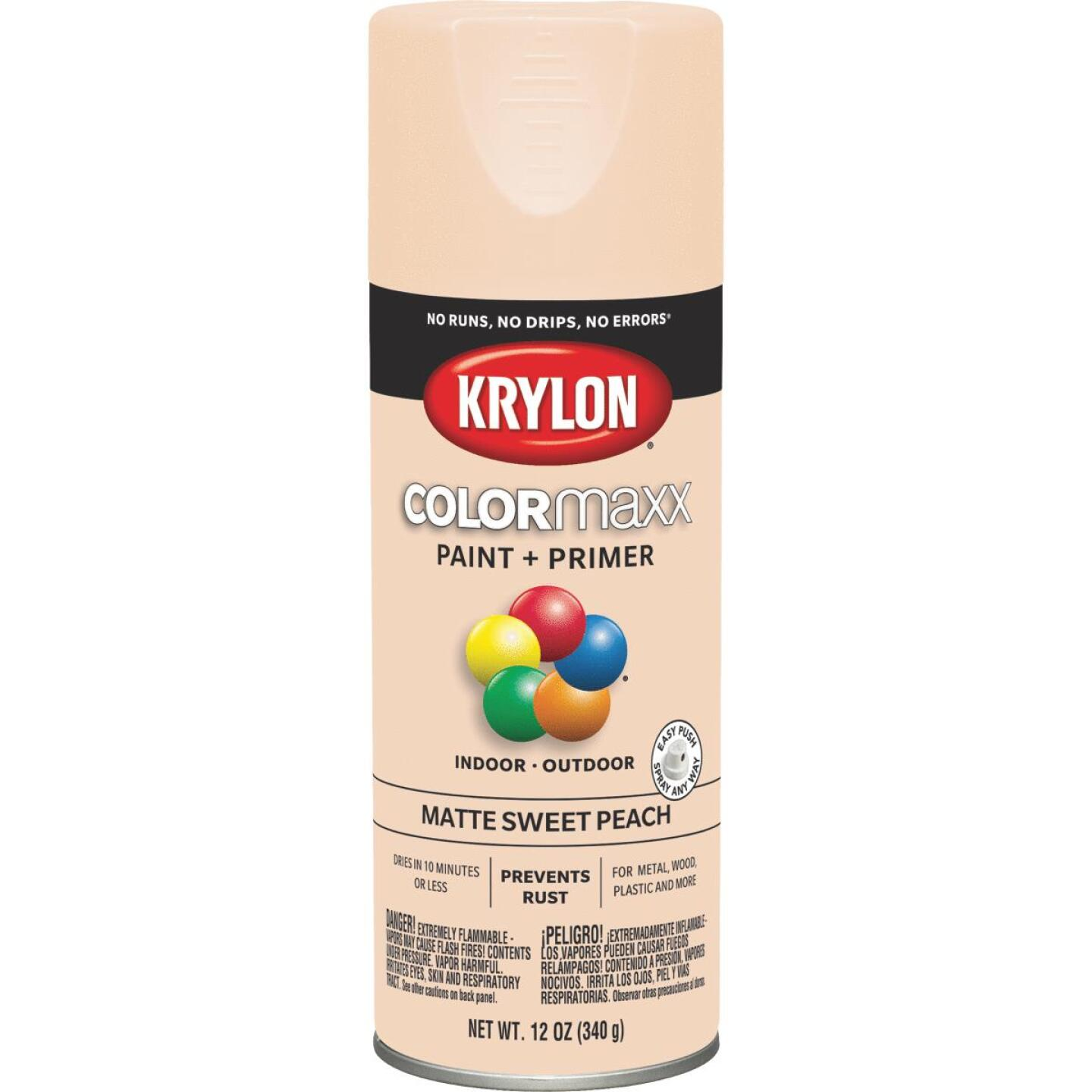 Krylon Colormaxx Matte Spray Paint & Primer, Sweet Peach Image 1
