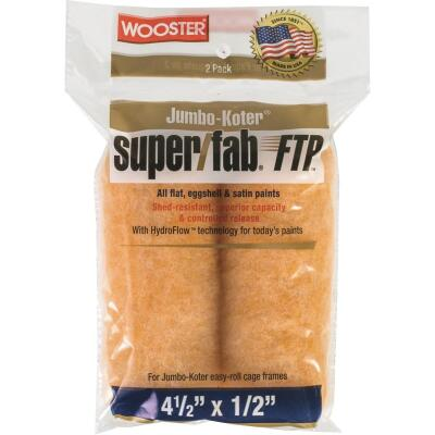 Wooster Jumbo-Koter Super/Fab FTP 4-1/2 In. x 1/2 In. Mini Knit Fabric Roller Cover (2-Pack)
