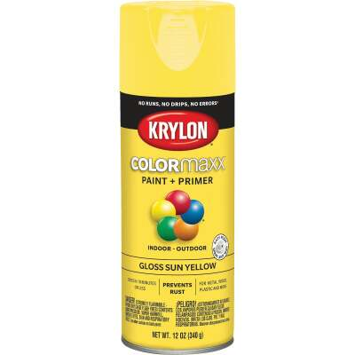 Krylon ColorMaxx 12 Oz. Gloss Spray Paint, Sun Yellow