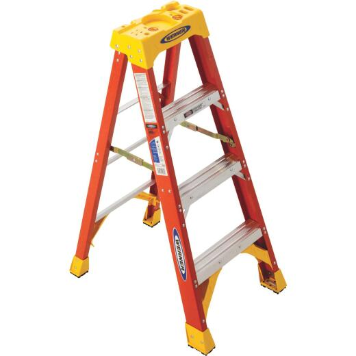 Werner 4 Ft. Fiberglass Step Ladder with 300 Lb. Load Capacity Type IA Ladder Rating
