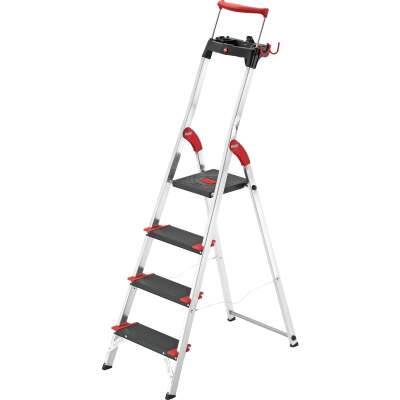 Hailo L100 4-Step Ladder with Adjustible Handrail & 330 Lb. Capacity