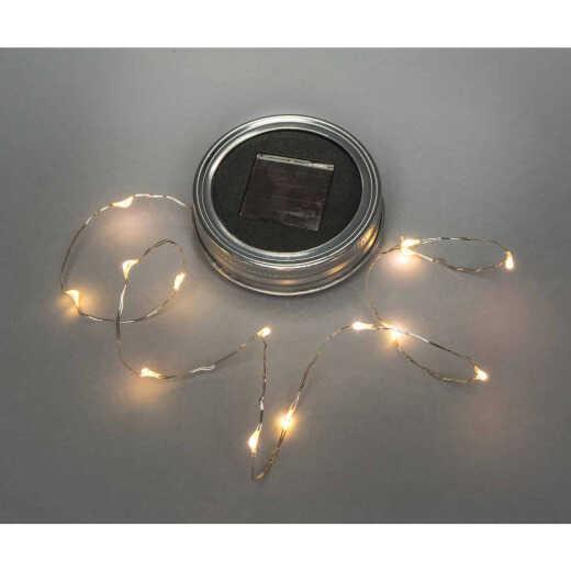 Everlasting Glow Warm White Bulb Metal Solar Mason Jar Lid with String Lights
