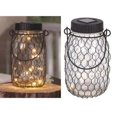 Gerson Everlasting Glow 6.9 In. H. x 2.75 In. Dia. Black Top Mason Jar LED Solar Lantern