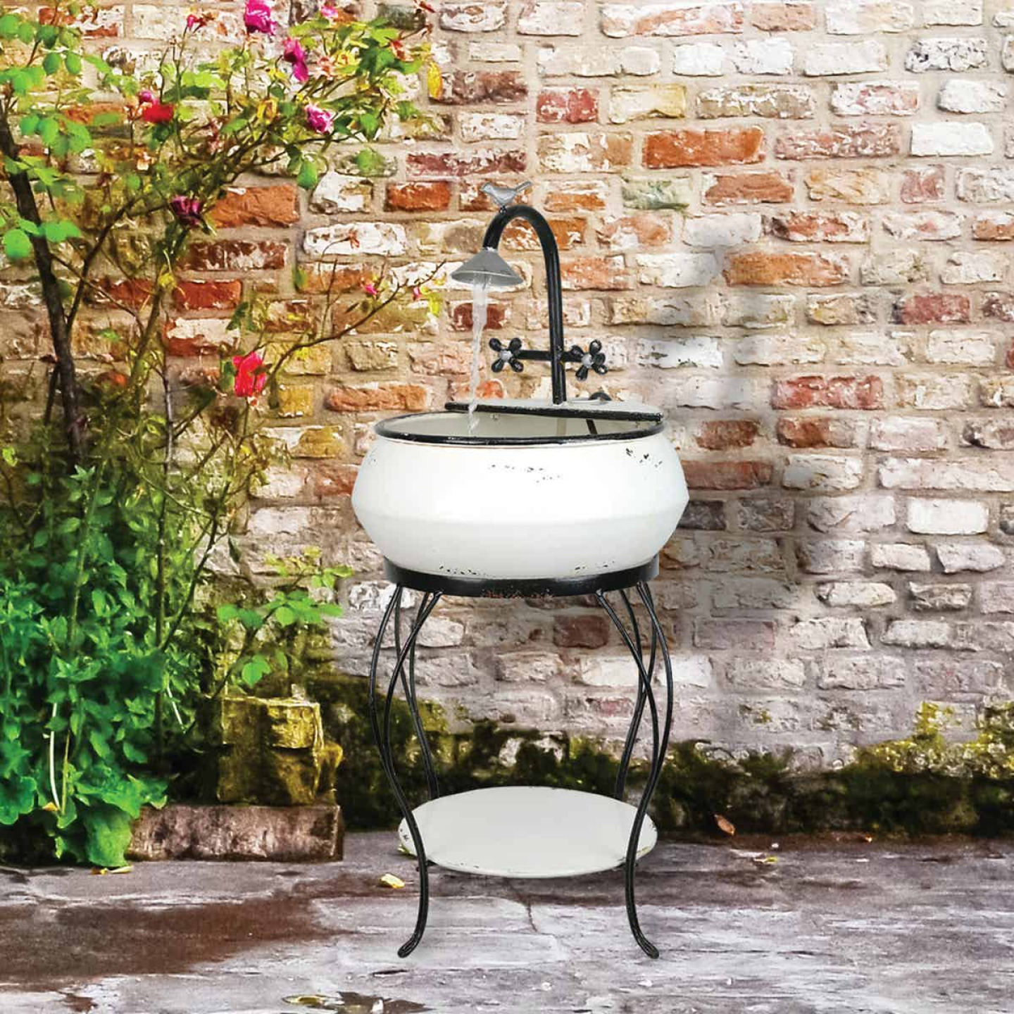 Alpine 16 In. W. x 32 In. H. x 16 In. L. Iron Vintage Sink Fountain Image 2