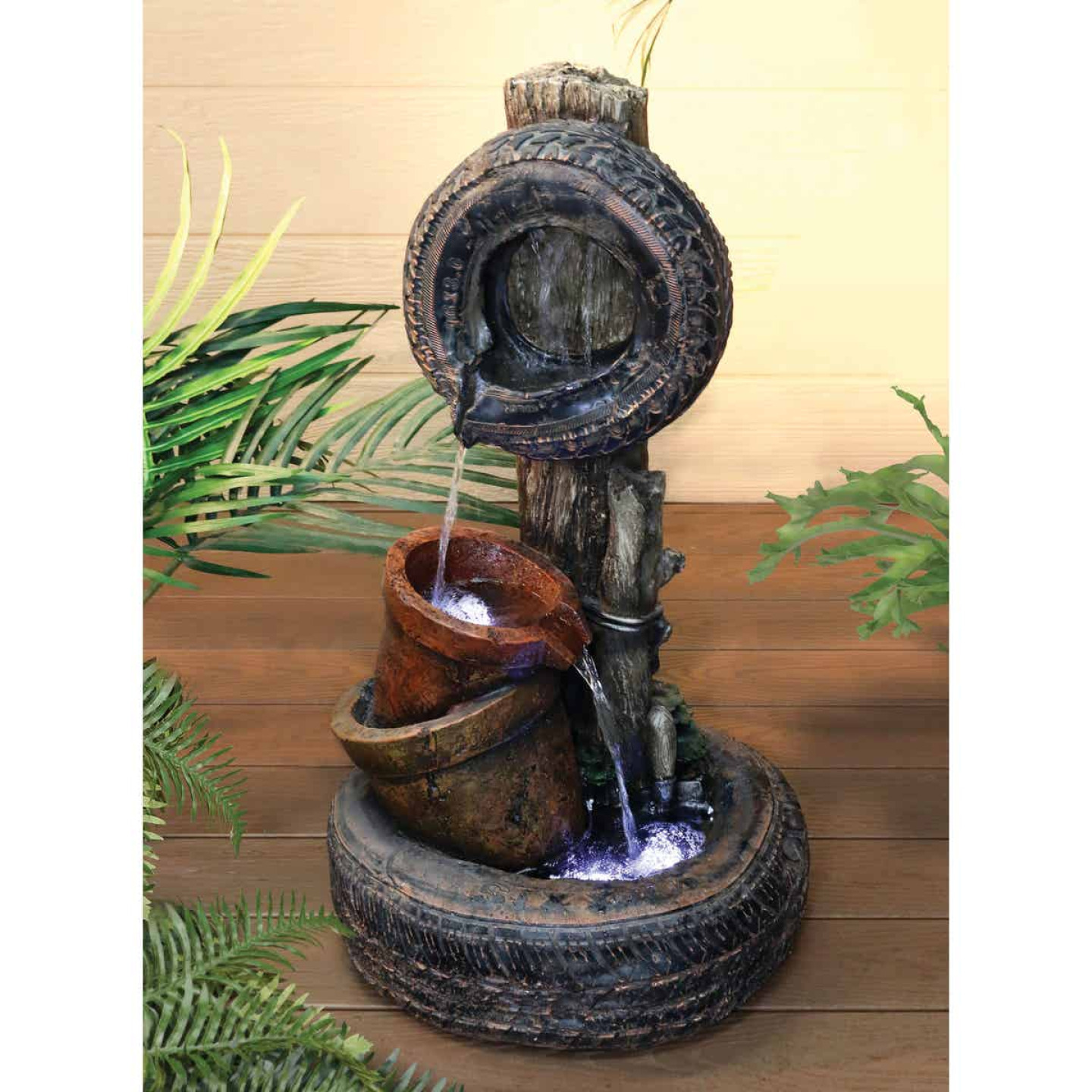 Alpine 15 In. W. x 32 In. H. x 18 In. L. Polyresin Tire & Buckets Fountain Image 2