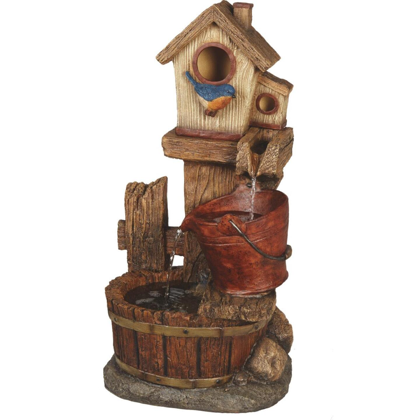 Best Garden 13.5 In. W. x 26.5 In. H. x 10.5 In. L. Polyresin Birdhouse Fountain Image 2