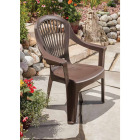 Adams Big Easy Earth Brown Resin High Back Stackable Chair Image 2