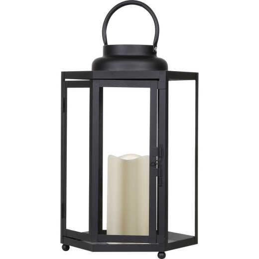 Alpine 9 In. W. x 14 In. H. x 9 In. L. Black Warm White LED Candle Hexagonal Patio Lantern