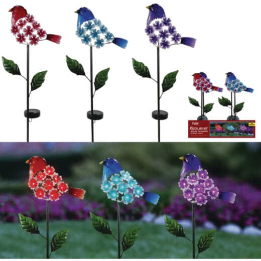 Alpine Solaris Plastic Hydrangea Floral Bird Solar Garden Stake